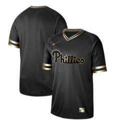 Mens Nike Philadelphia Phillies Blank Black Gold Authentic Stitched Baseball Jersey