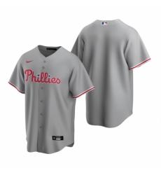 Mens Nike Philadelphia Phillies Blank Gray Road Stitched Baseball Jersey