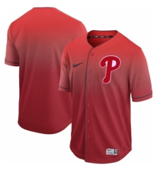 Mens Nike Philadelphia Phillies Blank Red Fade Authentic Stitched Baseball Jersey