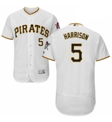 Mens Majestic Pittsburgh Pirates 5 Josh Harrison White Home Flex Base Authentic Collection MLB Jersey