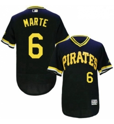 Mens Majestic Pittsburgh Pirates 6 Starling Marte Black Flexbase Authentic Collection Cooperstown MLB Jersey