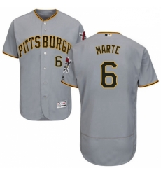 Mens Majestic Pittsburgh Pirates 6 Starling Marte Grey Road Flex Base Authentic Collection MLB Jersey