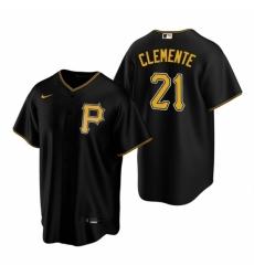 Mens Nike Pittsburgh Pirates 21 Roberto Clemente Black Alternate Stitched Baseball Jerse