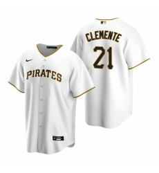 Mens Nike Pittsburgh Pirates 21 Roberto Clemente White Home Stitched Baseball Jerse