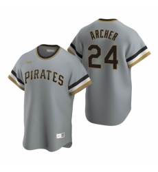 Mens Nike Pittsburgh Pirates 24 Chris Archer Gray Cooperstown Collection Road Stitched Baseball Jersey