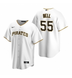 Mens Nike Pittsburgh Pirates 55 Josh Bell White Home Stitched Baseball Jersey