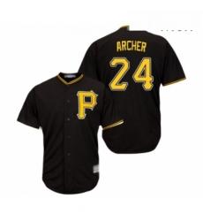 Mens Pittsburgh Pirates 24 Chris Archer Replica Black Alternate Cool Base Baseball Jersey