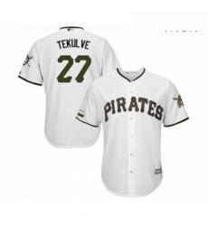 Mens Pittsburgh Pirates 27 Kent Tekulve Replica White Alternate Cool Base Baseball Jersey