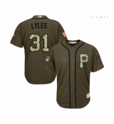 Mens Pittsburgh Pirates 31 Jordan Lyles Authentic Green Salute to Service Baseball Jersey