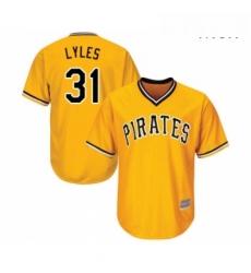 Mens Pittsburgh Pirates 31 Jordan Lyles Replica Gold Alternate Cool Base Baseball Jersey