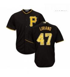 Mens Pittsburgh Pirates 47 Francisco Liriano Authentic Black Team Logo Fashion Cool Base Baseball Jersey