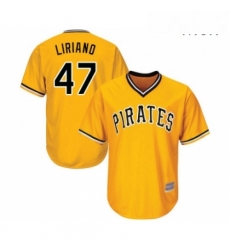 Mens Pittsburgh Pirates 47 Francisco Liriano Replica Gold Alternate Cool Base Baseball Jersey