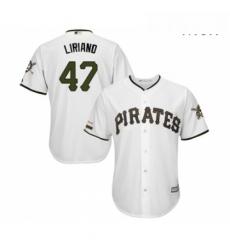 Mens Pittsburgh Pirates 47 Francisco Liriano Replica White Alternate Cool Base Baseball Jersey