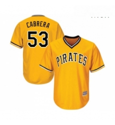 Mens Pittsburgh Pirates 53 Melky Cabrera Replica Gold Alternate Cool Base Baseball Jersey