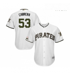 Mens Pittsburgh Pirates 53 Melky Cabrera Replica White Alternate Cool Base Baseball Jersey