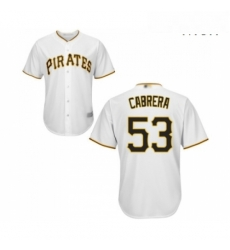 Mens Pittsburgh Pirates 53 Melky Cabrera Replica White Home Cool Base Baseball Jersey