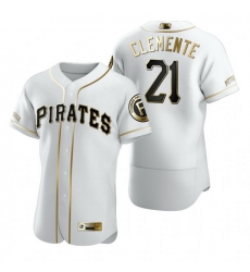Pittsburgh Pirates 21 Roberto Clemente White Nike Mens Authentic Golden Edition MLB Jersey