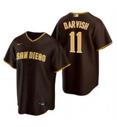Men San Diego Padres 11 Yu Darvish Brown Trade Road Coolbase Jersey