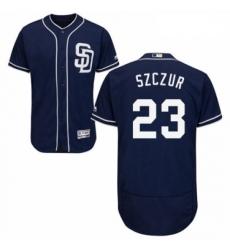 Mens Majestic San Diego Padres 23 Matt Szczur Navy Blue Alternate Flex Base Authentic Collection MLB Jersey