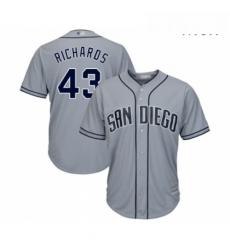Mens San Diego Padres 43 Garrett Richards Replica Grey Road Cool Base Baseball Jersey