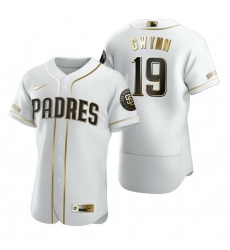 San Diego Padres 19 Tony Gwynn White Nike Mens Authentic Golden Edition MLB Jersey