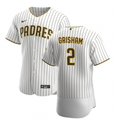 San Diego Padres 2 Trent Grisham Men Nike White Brown Home 2020 Authentic Player Jersey