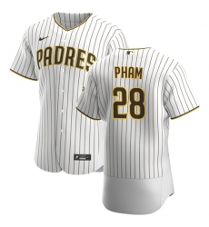 San Diego Padres 28 Tommy Pham Men Nike White Brown Home 2020 Authentic Player Jersey