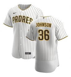 San Diego Padres 36 Pierce Johnson Men Nike White Brown Home 2020 Authentic Player Jersey