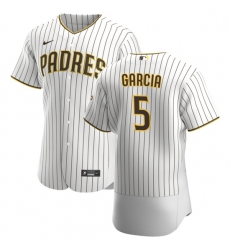 San Diego Padres 5 Greg Garcia Men Nike White Brown Home 2020 Authentic Player Jersey