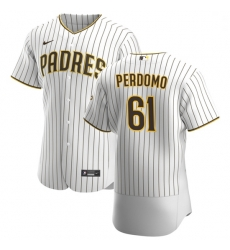 San Diego Padres 61 Luis Perdomo Men Nike White Brown Home 2020 Authentic Player Jersey