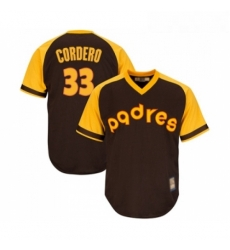 Youth San Diego Padres 33 Franchy Cordero Replica Brown Alternate Cooperstown Cool Base Baseball Jersey