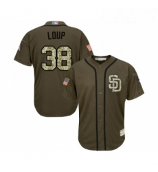 Youth San Diego Padres 38 Aaron Loup Authentic Green Salute to Service Cool Base Baseball Jersey