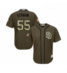 Youth San Diego Padres 55 Matt Strahm Authentic Green Salute to Service Cool Base Baseball Jersey