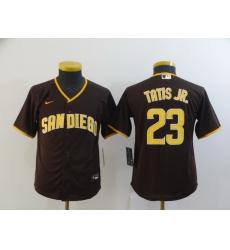 Youth San Diego Padres Fernando Tatis Jr 23 Brown Nike Cool Base Jersey