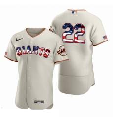 Men San Francisco Giants 22 Will Clark Men Nike Cream Fluttering USA Flag Limited Edition Flex Base MLB Jersey