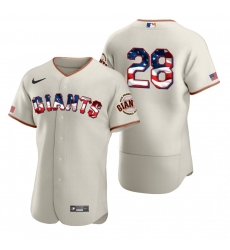 Men San Francisco Giants 28 Buster Posey Men Nike Cream Fluttering USA Flag Limited Edition Flex Base MLB Jersey