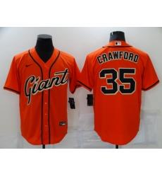 Men San Francisco Giants 35 Brandon Crawford Orange Stitched MLB Cool Base Nike Jersey