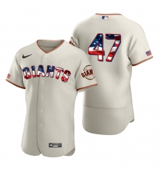 Men San Francisco Giants 47 Johnny Cueto Men Nike Cream Fluttering USA Flag Limited Edition Flex Base MLB Jersey