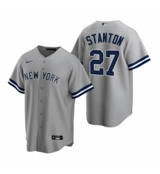 Mens Nike New York Yankees 27 Giancarlo Stanton Gray Road Stitched Baseball Jersey