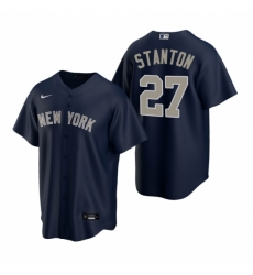 Mens Nike New York Yankees 27 Giancarlo Stanton Navy Alternate Stitched Baseball Jersey