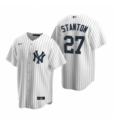 Mens Nike New York Yankees 27 Giancarlo Stanton White Home Stitched Baseball Jersey