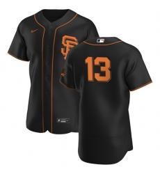 San Francisco Giants 13 Austin Slater Men Nike Black Alternate 2020 Authentic Player MLB Jersey