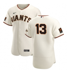 San Francisco Giants 13 Austin Slater Men Nike Cream Home 2020 Authentic 20 at 24 Patch Player MLB Jersey