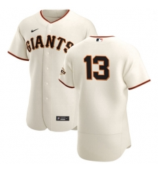 San Francisco Giants 13 Austin Slater Men Nike Cream Home 2020 Authentic Player MLB Jersey