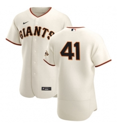 San Francisco Giants 41 Wilmer Flores Men Nike Cream Home 2020 Authentic Player MLB Jersey
