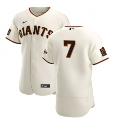 San Francisco Giants 7 Donovan Solano Men Nike Cream Home 2020 Authentic 20 at 24 Patch Player MLB Jersey