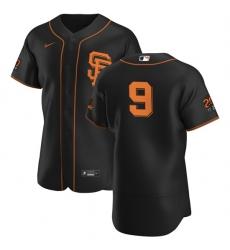 San Francisco Giants 9 Brandon Belt Men Nike Black Alternate 2020 Authentic 20 at 24 Patch Player MLB Jersey