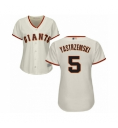 Women's San Francisco Giants #5 Mike Yastrzemski Authentic Cream Home Cool Base Baseball Player Jersey