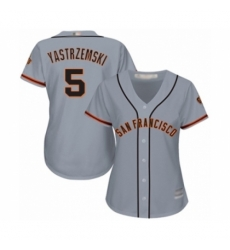 Women's San Francisco Giants #5 Mike Yastrzemski Authentic Grey Road Cool Base Baseball Player Jersey