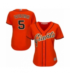 Women's San Francisco Giants #5 Mike Yastrzemski Authentic Orange Alternate Cool Base Baseball Player Jersey